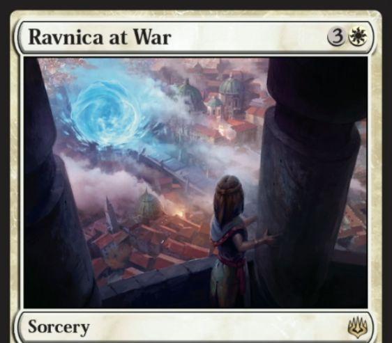 【灯争大戦】白レアのソーサリー《Ravnica at War》が公開!白3で多色のパーマネント全追放!
