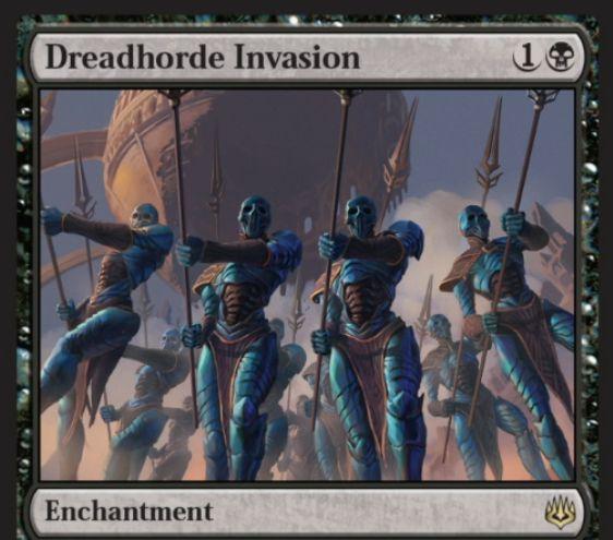 【灯争大戦】黒レアのエンチャント《Dreadhorde Invasion》が公開!黒1で設置し、自アップキープ開始時に「amass 1」&自軍のパワー6以上の攻撃ゾンビに絆魂を付与!