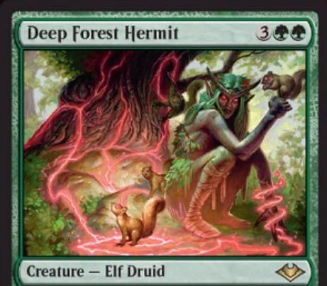 【モダンホライゾン】消失持ちのエルフ・ドルイド「Deep Forest Hermit」が公開!ウルザズ・レガシー《錯乱した隠遁者》のリメイク感を感じる一枚!