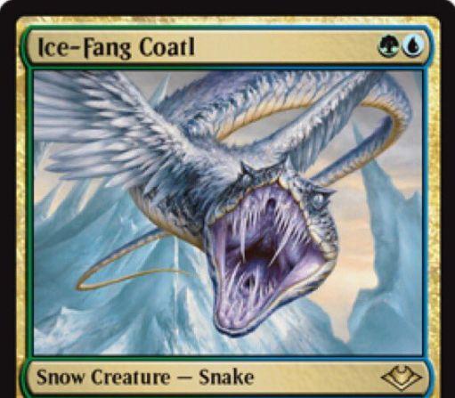 【モダンホライゾン】青緑の氷雪蛇「Ice-Fang Coatl」が公開!2マナ1/1飛行・瞬速&ETBで1ドロー&自軍の氷雪パーマネント3個以上で接死を獲得!