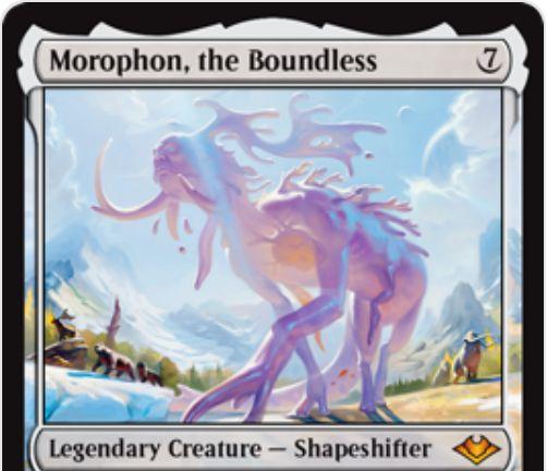 【モダンホライゾン】伝説神話多相の戦士「Morophon, the Boundless」が公開!無色の多相持ちクリーチャーで、ETBでクリーチャー・タイプを1つ選び、それらのタイプを持つクリーチャーに多大な恩恵をもたらす!