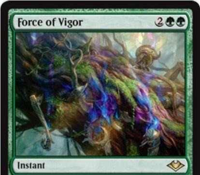 【モダンホライゾン】緑インスタント「Force of Vigor」が公開!手札の緑カードをピッチ・コストに唱えられる2倍《帰化》!