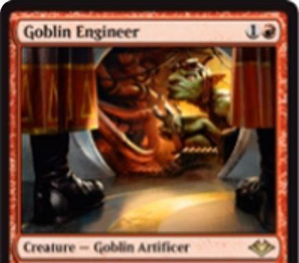 【モダンホライゾン】赤レアのゴブリン工匠「Goblin Engineer」が公開!赤1点&タップ&アーティファクト生贄で自墓地の3マナ以下アーティファクトを戦場に出せる!ETBでライブラリーから好きなアーティファクト1枚を墓地に落とす能力も!