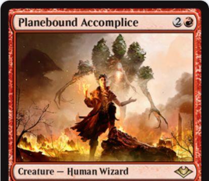 【モダンホライゾン】赤レアの人間ウィザード「Planebound Accomplice」が公開!プレインズウォーカー限定の《騙し討ち》を内蔵したクリーチャー!