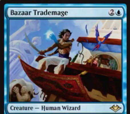 【モダンホライゾン】青レアの人間ウィザード「Bazaar Trademage」が公開!3マナ3/4飛行&ETBで2ドローしてから3枚捨てる《Bazaar of Baghdad》内臓のクリーチャー!