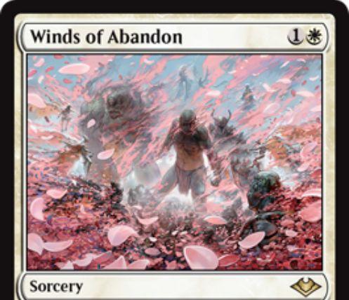【モダンホライゾン】白レアのソーサリー「Winds of Abandon」が公開!白1で対戦相手の生物1体を対象にとって追放し、そのプレイヤーに基本土地をプレゼント!白白4で超過コストプレイも可能!