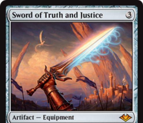 【モダンホライゾン】新たな神話剣「Sword of Truth and Justice」が公開!装備クリーチャーに+2/+2とプロテクション白青を付与し、装備クリーチャーがプレイヤーにダメージを通せば自軍全体に+1/+1カウンターを置いてから増殖!
