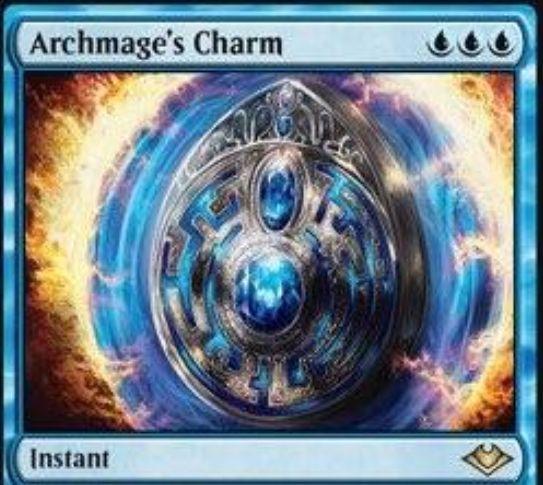 【モダンホライゾン】青レアの魔除けインスタント「Archmage's Charm」が公開!青青青で「打ち消し」「対象プレイヤー2ドロー」「1マナ以下の非土地パーマネントを奪う」から選べる!