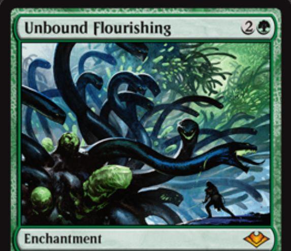 【モダンホライゾン】緑神話エンチャント「Unbound Flourishing」が公開!マナコストにXを含むパーマネントを唱えるとXを倍にし、マナコストにXを含むインスタント・ソーサリーやXを含む起動型能力はコピーする!