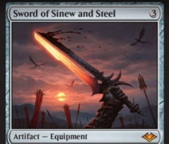 【モダンホライゾン】新たな神話剣「Sword of Sinew and Steel」が公開!装備クリーチャーに+2/+2とプロテクション黒赤を付与し、装備クリーチャーがプレイヤーにダメージを通せばPWとアーティファクトをそれぞれ1個まで破壊!
