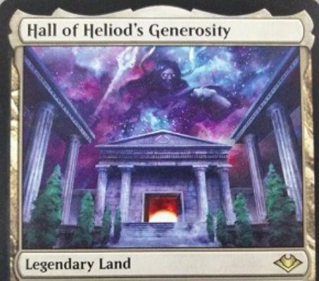 【モダンホライゾン】伝説の土地「Hall of Heliod's Generosity」が公開!白1&タップで自墓地のエンチャント1枚をライブラリートップに戻せる!タップで無色マナの生産も可能!
