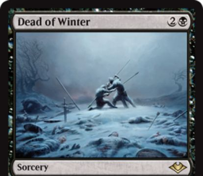 【モダンホライゾン】黒レアのソーサリー「Dead of Winter」が公開!黒2ですべての氷雪でないクリーチャーに-X/-X!Xは自軍の氷雪パーマネントの数!