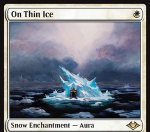 【モダンホライゾン】白の氷雪オーラ「On Thin Ice」が公開!自軍の氷雪土地にエンチャントし、これが戦場を離れるまで対戦相手のクリーチャー1体を追放する《岩への繋ぎ止め》の氷雪バージョン!