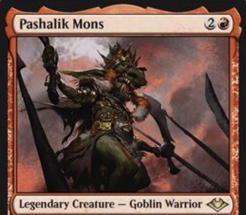 【モダンホライゾン】パシャリク・モンス(Pashalik Mons)が公開!3マナ2/2&赤3とゴブリンの生贄で赤のゴブリントークン2体を生成&このカードを含むゴブリンの死亡時に好きな対象に1点ダメージを飛ばす伝説のゴブリン戦士!