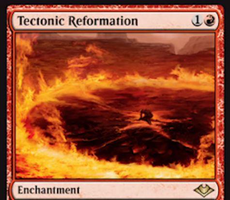 【モダンホライゾン】赤エンチャント「Tectonic Reformation」が公開!赤1で設置し、手札の全土地に赤マナ1点でのサイクリングを付与!このカード自体も不特定2マナでサイクリング可能!