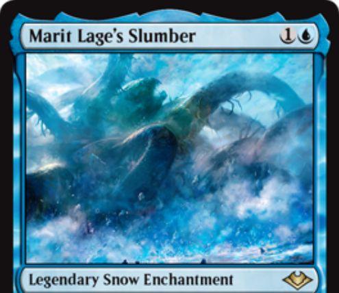 【モダンホライゾン】伝説の青氷雪エンチャント「Marit Lage's Slumber」が公開!青1で設置し、条件達成で《マリット・レイジ》を出せる氷雪カード!