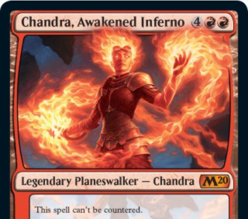 【基本セット2020】神話レアのチャンドラ「Chandra, Awakened Inferno」が公開!打ち消されない常在型能力を有するプレインズウォーカー・チャンドラ!