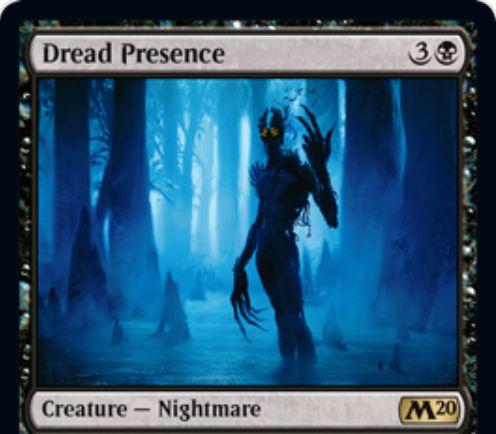 【基本セット2020】黒レアのナイトメア「Dread Presence」が公開!4マナ3/3&自軍に沼が出るたびに「ライフロスドロー」か「好きな対象への2点ドレイン」ができる!