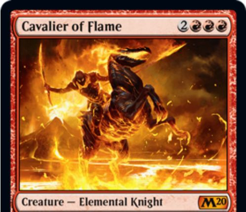 【基本セット2020】赤神話のエレメンタル騎士「Cavalier of Flame」が公開!自軍全体強化&手札交換&全体ダメージの能力を有する赤神話クリーチャー!