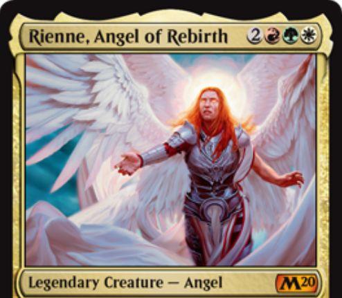 【基本セット2020】ナヤ色の神話天使「Rienne, Angel of Rebirth」が公開!5マナ5/4飛行&多色生物のパワーを1増強&他の死亡した多色生物を次終了ステップに手札に戻す!