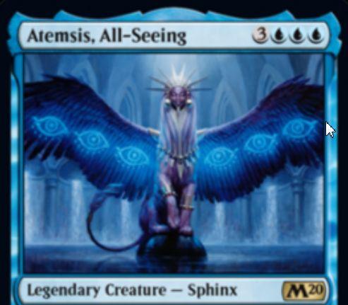 【基本セット2020】青レアの伝説スフィンクス「Atemsis, All-Seeing」が公開!青青青3で4/5飛行&青2タップで2ドロー・1ディスカード&プレイヤーにダメージを通したときに手札を公開し、点数で見たマナコストが異なるカードが6枚あれば手札を見せたプレイヤーを敗北させる!