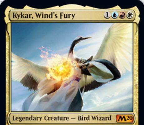 【基本セット2020】ジェスカイ色の伝説神話鳥ウィザード「Kykar, Wind's Fury」が公開!4マナ3/3飛行&非クリーチャー呪文に反応して1/1飛行のスピリットトークンを生成!スピリットを生贄にして赤マナを生産する起動型能力も!