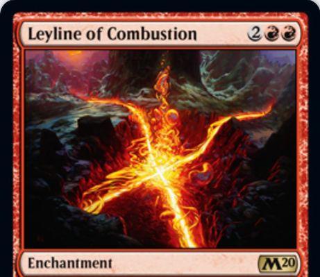 【基本セット2020】赤レアの新たな力線「Leyline of Combustion」が公開!あなたかあなたのパーマネントが対戦相手の呪文や能力の対象になるたび、対戦相手に2点ダメージを飛ばす!
