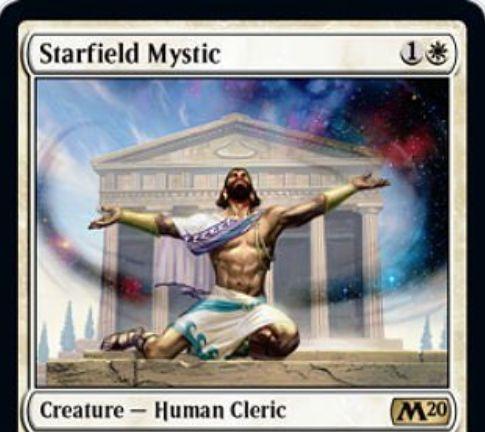 【基本セット2020】白レアの人間クレリック「Starfield Mystic」が公開!2マナ2/2&エンチャントのコストを1減らす&自軍エンチャントが墓地に行くたびに+1/+1カウンターを得る!