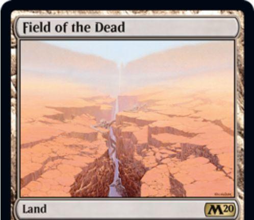 【基本セット2020】レア土地「Field of the Dead」が公開!このカードか他の土地が戦場に出たときに、条件付きで2/2ゾンビトークンを生成するタップイン無色土地!