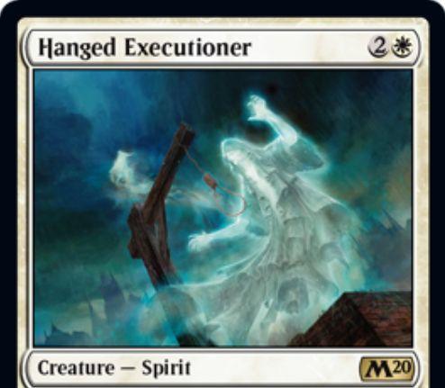 【基本セット2020】白レアのスピリット「Hanged Executioner」が公開!自身を生贄にして対象クリーチャーを追放する起動型能力を有する!