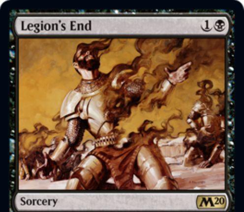 【基本セット2020】黒レアのソーサリー「Legion's End」が公開!黒1で2マナ以下のクリーチャー1体を対象にとり、それとそれの同名カードを全領域から追放する!