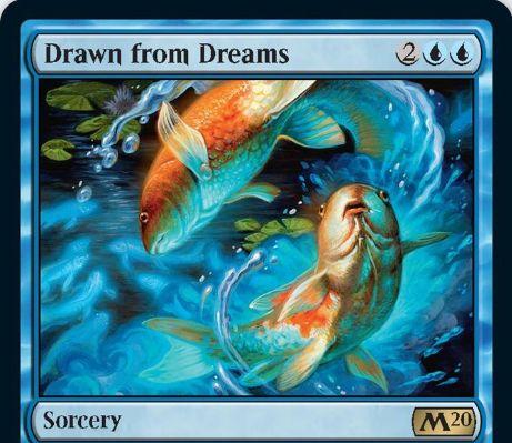【基本セット2020】青レアのソーサリー「Drawn From Dreams」が公開!青青2でライブラリートップ7枚を見て、2枚を手札へ加えて残りをボトムへ!