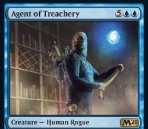 【基本セット2020】青レアのならず者人間「Agent of Treachery」が公開!7マナ2/3&ETBでパーマネント1つを奪う&自終了ステップ開始時に、あなたのものでないパーマネントが3個以上戦場にあれば3枚ドロー!