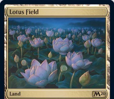 【基本セット2020】レア土地「Lotus Field」が公開!タップで好きな色マナ3点を生める呪禁持ち土地!土地2枚を生贄に捧げてタップイン!