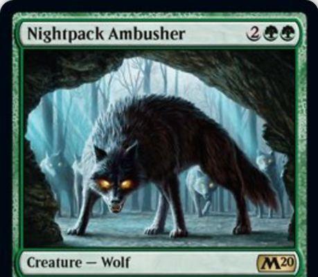 【基本セット2020】緑レアの狼「Nightpack Ambusher」が公開!4マナ4/4瞬速&他の狼に+1/+1&呪文を唱えなかった自終了ステップに緑2/2の狼トークンを生成する狼ロード!