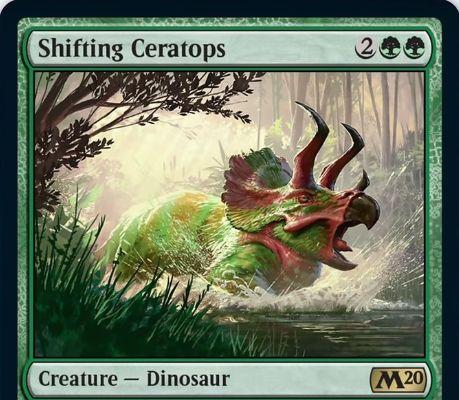 【基本セット2020】緑レアの恐竜「Shifting Ceratops」が公開!4マナ5/4で打ち消されれずプロテクション(青)を持つ青系コントロールメタのクリーチャー!緑マナ1点で到達かトランプルか速攻を得る起動型能力も!