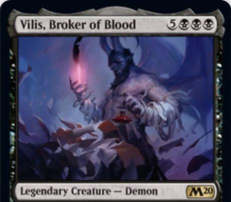 【基本セット2020】黒レアの伝説デーモン「Vilis, Broker of Blood」が公開!8マナ8/8飛行&黒マナ1点とライフ2点を支払って対象生物に-1/-1修正&あなたがライフを失うたびに同数のカードをドロー!