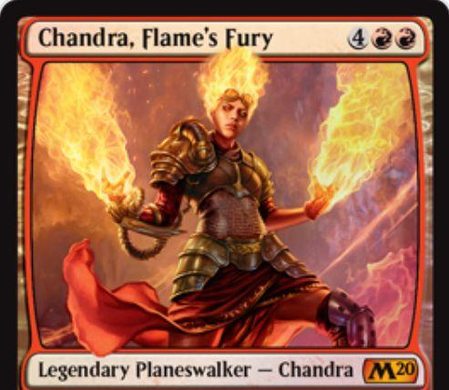 【基本セット2020】PWデッキ限定収録のチャンドラ「Chandra, Flame's Fury」が公開!
