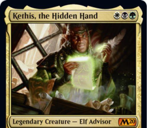 【基本セット2020】アブザン色の伝説神話エルフアドバイザー「Kethis, the Hidden Hand」が公開!3マナ3/4&伝説呪文のコストを(1)減らす&墓地の伝説カード2枚を追放することで、墓地の伝説カードを墓地から唱えられる状態にする!