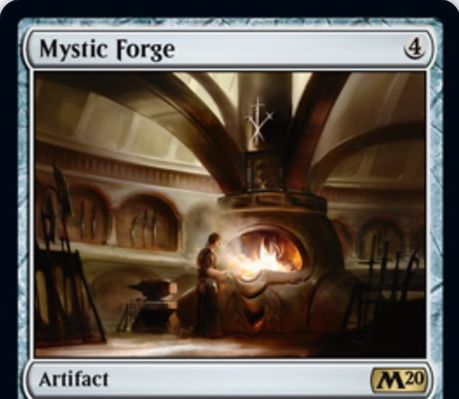 【基本セット2020】レアのアーティファクト「Mystic Forge」が公開!ライブラリートップをいつでも見れ、それがアーティファクトか土地でない無色カードなら唱えられるようにする!タップ・1ライフペイでライブラリートップを追放する起動型能力も!
