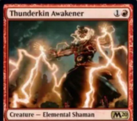 【基本セット2020】赤レアのエレメンタルシャーマン「Thunderkin Awakener」が公開!2マナ1/2速攻&攻撃時に自身のタフネスよりも低いタフネスのエレメンタルを墓地から攻撃状態で戦場に出す!