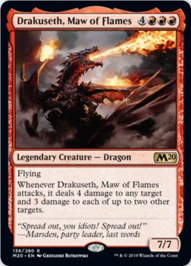 赤レアの伝説ドラゴン「Drakuseth, Maw of Flames」(基本セット2020)