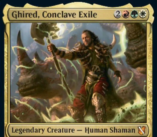 【統率者2019】ナヤの伝説神話人間シャーマン「Ghired, Conclave Exile」が公開!ETBでサイを出し、攻撃のたびに居住する!
