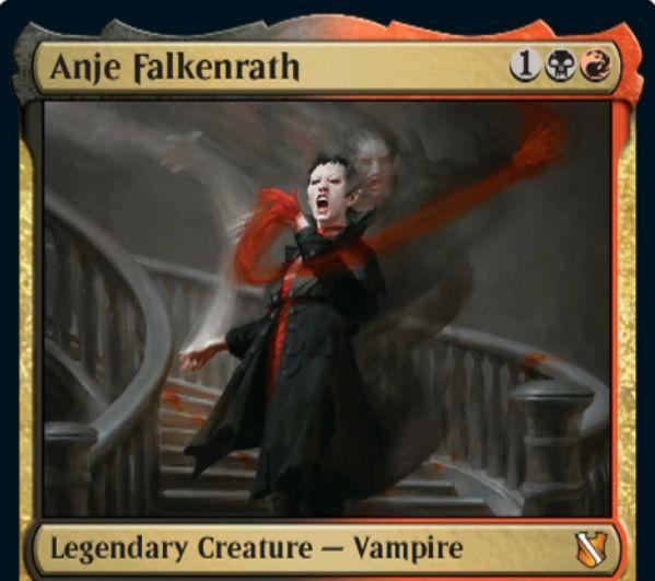 【統率者2019】赤黒の伝説吸血鬼「Anje Falkenrath」が公開!3マナ1/3速攻&自身をタップしてルーター&マッドネス持ちカードを捨てるたびにアンタップ!
