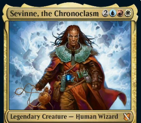 【統率者2019】青赤白の伝説神話人間ウィザード「Sevinne, the Chronoclasm」が公開!5マナ2/2&自身へのダメージをすべて軽減&各ターンの最初に墓地から唱えるインスタントかソーサリーをコピー!