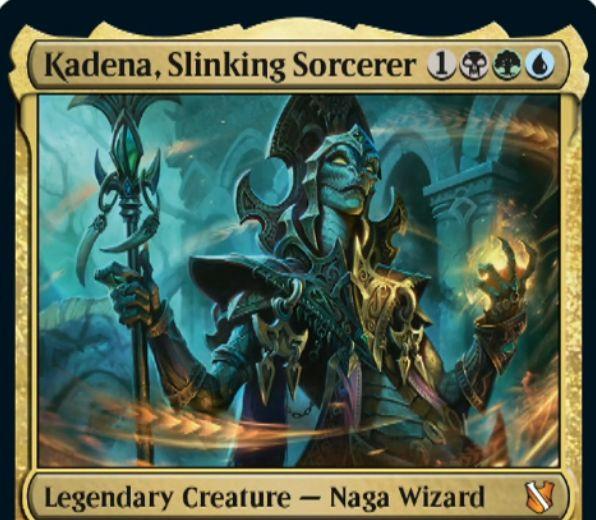 【統率者2019】黒緑青の伝説神話ナーガシャーマン「Kadena, Slinking Sorcerer」が公開!裏向きに唱える呪文のコストを3減らし、裏向きクリーチャーが戦場に出るたびにドローをもたらす!