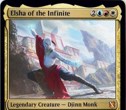 【統率者2019】青赤白の伝説ジンモンク「Elsha of the Infinite」が公開!5マナ3/3果敢&デッキトップを常時閲覧可能にし、それが土地でも生物でもないなら瞬速プレイ可能に!