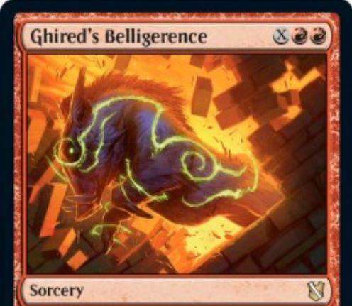 【統率者2019】赤のソーサリー「Ghired's Belligerence」が公開!赤赤XでX点ダメージをクリーチャーに分割して与え、このダメージでクリーチャーを死亡させたなら居住のオマケが付く!