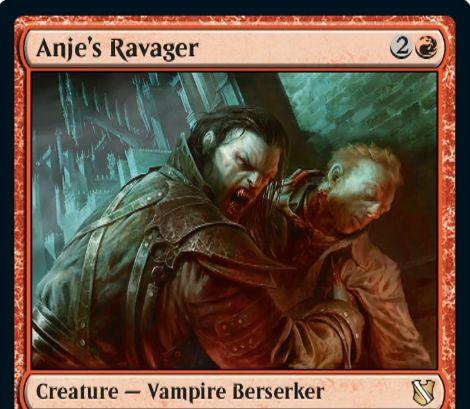 【統率者2019】赤レアの吸血鬼狂戦士「Anje's Ravager」が公開!3マナ3/3で攻撃強制&攻撃のたびに手札すべてを捨てて3ドロー&マッドネス赤1!