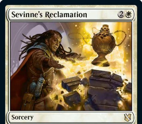 【統率者2019】白のソーサリー「Sevinne's Reclamation」が公開!白2で3マナ以下のパーマネントを戦場に戻す!墓地から唱えていたならさらにこの呪文をコピー!白4でフラッシュバックも可能!